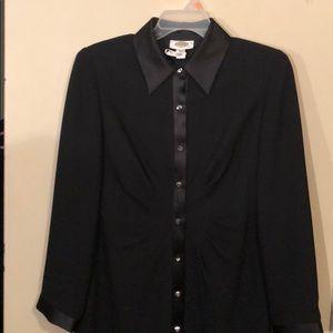 Talbots Black Cocktail Dress with Satin Collar 10